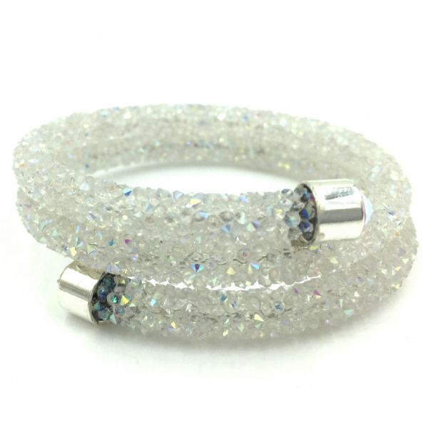 Double sparkle dust cuff bracelet - white ab